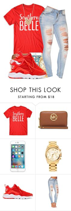 """2k16"" by polyvoreitems5 ❤ liked on Polyvore featuring MICHAEL Michael Kors, Apple, Michael Kors, NIKE and Forever 21"
