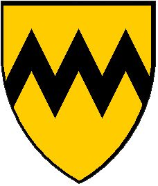 A modern representation of the Arms of Vavasour (or, a fess dancetty, sable).