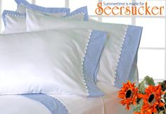This quick and easy project uses a plain sheet set, upscaled with seersucker and pretty white jumbo ric rac.