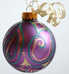 Multicolored Abstract on Purple Holiday ornament
