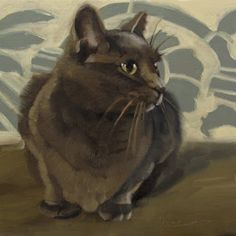 The Gray Cat 6 x6 oil painting, painting by artist Diane Hoeptner