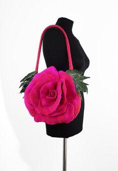 Felted Bag Pink Handbag Nunofelt Purse Felt Nunofelt Nuno felt Silk Eco rose fairy pink fuschiafloral fantasy shoulder bag Fiber Art boho