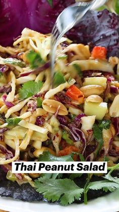 Healthy Salad Recipes, Low Carb Recipes, Cooking Recipes, Ketogenic Recipes, Diabetic Recipes, Healthy Foods, Thai Peanut Salad, Vegetable Side Dishes, Vegetable Salads
