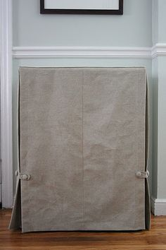 Skirted table tutorial. Great idea to cover those bookcases that we are using for nightstands. Fabric - linen or maybe ticking?