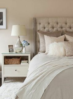chambre cocooning taupe beige et blanc chambre cosy tete de lit ...