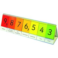 Simplify the teaching of big numbers with this large flip stand! Features 7 sets of flip cards each 0-9. Side one covers place value from ones to millions. Side two provides practice with decimal numb