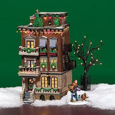 "Department 56: Products - ""Parkside Holiday Brownstone"" - View Lighted Buildings"