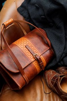Leather satchel, weekender bag, tooled leather, veg tanned, hand tooled, scallops, scales, made int the usa