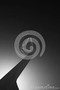 Shot in black and white, another view of this modern building in shape of an antenna, placed in Montjuic , set in Barcelona, Catalonia, Catalunya, España, Spain, Europa, Europe
