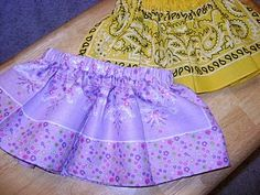 I've been looking for an idea to use up my bandanas.  This toddler skirt looks adorable.