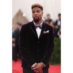 Odell Beckham Jr. in Custom H&M Tuxedo at 2015 Met Gala ❤ liked on Polyvore featuring odell