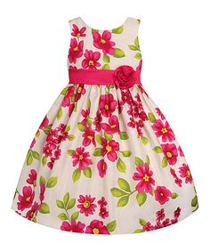 Cream & Fuchsia Floral Rosette Dress - Toddler & Girls. 12.99