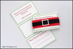 Free printable Secret Santa Drawing Tags. Big K Little G