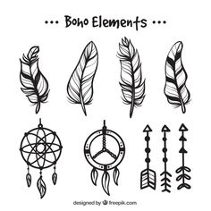 Set of feathers and hand drawn dream catchers Free Vector