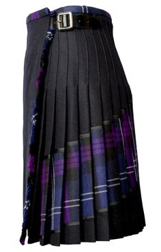 Heritage details meet contemporary elegance in this signature purple tartan kilt from Siobhan Mackenzie. A diagonal red plaid pattern across the back adds a provocative slant to the preppy pleated skirt. Crafted from sumptuous pure wool in Scotland, this polished style wraps around the front and cinches into a sleek leather buckle to highlight the pleated back and matching front fringe. Wear this knee-length style to work with a tucked-in sweater and point-toe flats for ultimate office…