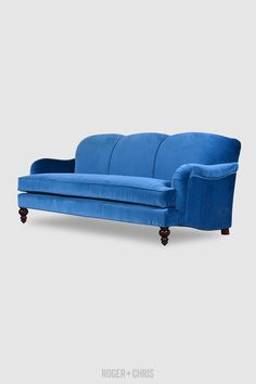 Basel is a custom-made English roll arm sofa made in the USA by expert furniture craftsmen. This English roll arm is available as an armchair, sofa, or sectional. Blue Velvet Couch, Navy Couch, Sofas, Armchairs, Couches, Sofa Styling, Fabric Sofa, Quality Furniture, Blue Fabric