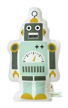 Scopri Cuscino Mr. Small Robot, H 40 cm / Verde, giallo e bianco di Ferm Living, Made In Design Italia