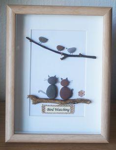 Guijarro arte enmarcado cuadro observación de aves por Jewlls4u