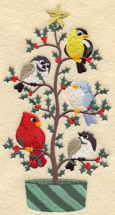 Christmas Birds in a Tree Tweet Embroidered on WHITE by remimartin