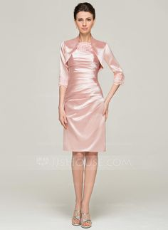 Sheath/Column Scoop Neck Knee-Length Charmeuse Mother of the Bride Dress With Ruffle (008062565) - JJsHouse