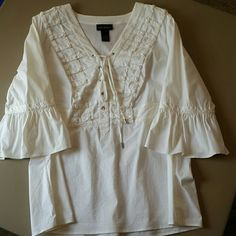 Women's white peasant top Perfect condition, super cute peasant top, worn once! Lane Bryant Tops