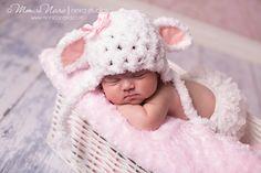 Baby girl hat-little lamb hat-crochet hat-newborn photography-photo prop. $30.00, via Etsy.