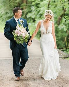 Lace wedding inspiration, flower crown, pink bouquet. #weddinginspiration photo cred: www.jennakutcher.com Farm Wedding Dresses, Lace Wedding, Dream Wedding, Bride And Groom Pictures, Bohemian Wedding Inspiration, Whimsical Wedding, Groom Attire, Boho Bride, Wedding Wishes