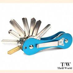 New Aluminum Smart Key Holder Organizer Clip Folder Keychain Pocket Tool. Smart Key, Card Organizer, Skull Design, Clip, Types Of Shoes, Aluminium Alloy, Wallets For Women, Key Rings, Blue Orange
