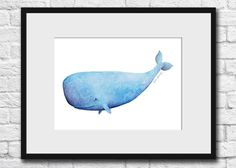 Whale- Original Watercolor, Art, Painting, Wall Decor, Illustration, Kid's Wall Art, Sperm Whale by SaraGourleyArt on Etsy https://www.etsy.com/listing/184073370/whale-original-watercolor-art-painting