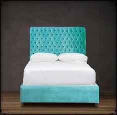 blue velvet upholstered headboard - Google Search