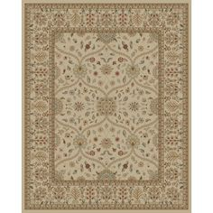 Shop Style Selections Hangsinger 7-ft 10-in x 9-ft 10-in Rectangular Cream/Beige/Almond Floral Area Rug at Lowes.com
