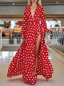 Polka Dot Long Sleeve Maxi A-line Dress Long Sleeve Evening Dresses, Long Sleeve Maxi, Maxi Dress With Sleeves, Vacation Dresses, Summer Dresses, Maxi Dresses, Long Dresses, Dress Long, Dots Fashion