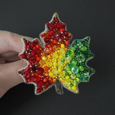 Maple Leaf Brooch Autumn Leaf Pin Brooch for coat Leaf Jewelry Bead Embroidery Jewelry, Beaded Jewelry Patterns, Soutache Jewelry, Beaded Embroidery, Beading Patterns, Embroidery Designs, Beading Jewelry, Leaf Jewelry, Fabric Jewelry