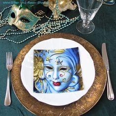 20 Papierservietten Carnival di Venezia - Silber-und-Rosen-Shop