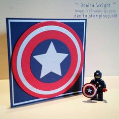 "Captain America shield Birthday card by Denita Wright (Australia) ""Avengers Assemble"" My 7 year old had a Captain America themed Birthday. Thank goodness for Circles Collection Framelits! Cardstock: Night of Navy, Real Red & Brushed Silver Big Shot: Circles Collection Framelits and Stars Framelits Adhesives: Mutlipurpose Liquid Glue & Stampin' Dimensionals * No stamps and no ink used to make this super easy card :)"