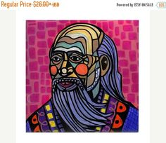 45% Off Today- Lao Tzu Art Tile Ceramic Coaster Print of painting by Heather Galler Abstract Portrait Tao Te Ching Chinese Philosopher