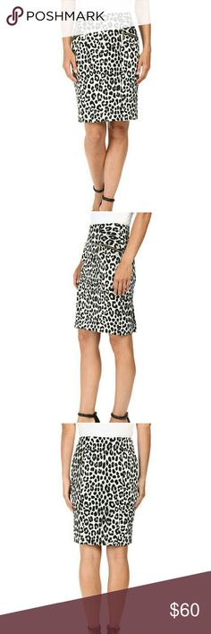 """LAST CALL"" MICHAEL KORS SPOTTED CHEETAH SKIRT PRICE FIRM  Sharpen your style in this universally flattering ponte skirt from Michael Kors. Stylish zip pockets.   Top it with a jacket for an outfit that's equally stylish and professional.  COLOR: Black  Pencil skirt in a woven stretch polyester. Cheetah print. Fitted waist. Faux front zip pockets. Side zip closure. Unlined. 95% polyester, 5% elastane. Michael Kors Skirts"