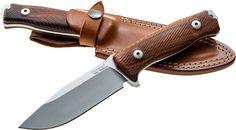 LionSteel M5 Hunter Fixed 4.53 inch Satin Sleipner Plain Blade, Santos Wood Handles, Leather Sheath