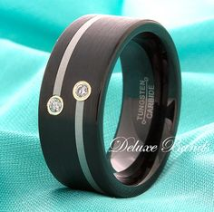 Black Tungsten Band 9mm Pipe Cut Satin Finished by DeluxeBands