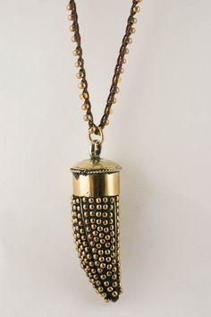 Gold Horn Pendant Necklace