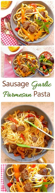 This Sausage Garlic Parmesan Pasta comes together in about 30 minutes and costs less than $10. Perfect for a busy weeknight. #ad