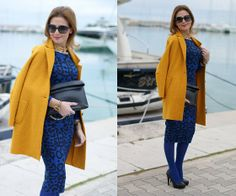 Glamorous Animal Print Dress, Zara Wool Coat, Zara Clutch, B&H Shoes Pumps