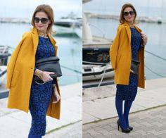 Glamorous Animal Print Dress, Zara Wool Coat, Zara Clutch, B&H Shoes Pumps