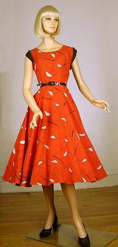 Atomic vintage 50s red novelty print dress from LuciteBox Vintage