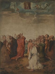 The Ascension by Michel Sittow. Dateda This was part of a series of 47 devotional panels painted for Queen Isabella of Castile. Only 27 still survive Robert Campin, Ascension Day, Isabella Of Castile, Queen Isabella, Renaissance Artists, Kingdom Of Heaven, National Gallery Of Art, Paintings I Love, Western Art