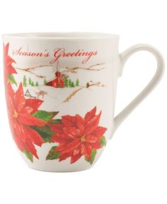 Fitz and Floyd Set of Two Holiday Mugs Collection Seasons Greetings Set