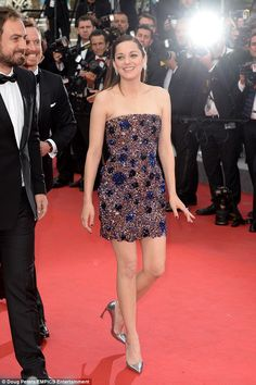 Stunning: Marion Cotillard pulled out all the stops for the premiere of her new film Macbeth at the Cannes Film Festival on Saturday