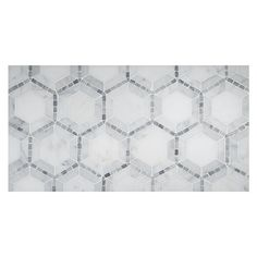 UNIQUE MOSAIC TILE PATTERNS - Concentric Hexagon Mosaic in Carrara, East White and Mugwort Grey-Green Polished Finish. The classic hexagon pattern is updated and stylized in this new mosaic.  Complete Tile Collection  MI#: 268-S2-400-811 #MarbleMosaic