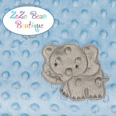 Blue Elephant Sensory Texture Tag Blanket Tags by ZoZoBeanBoutique