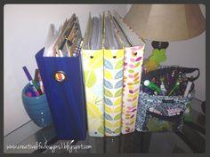 pretty binders on display.   creative life designs